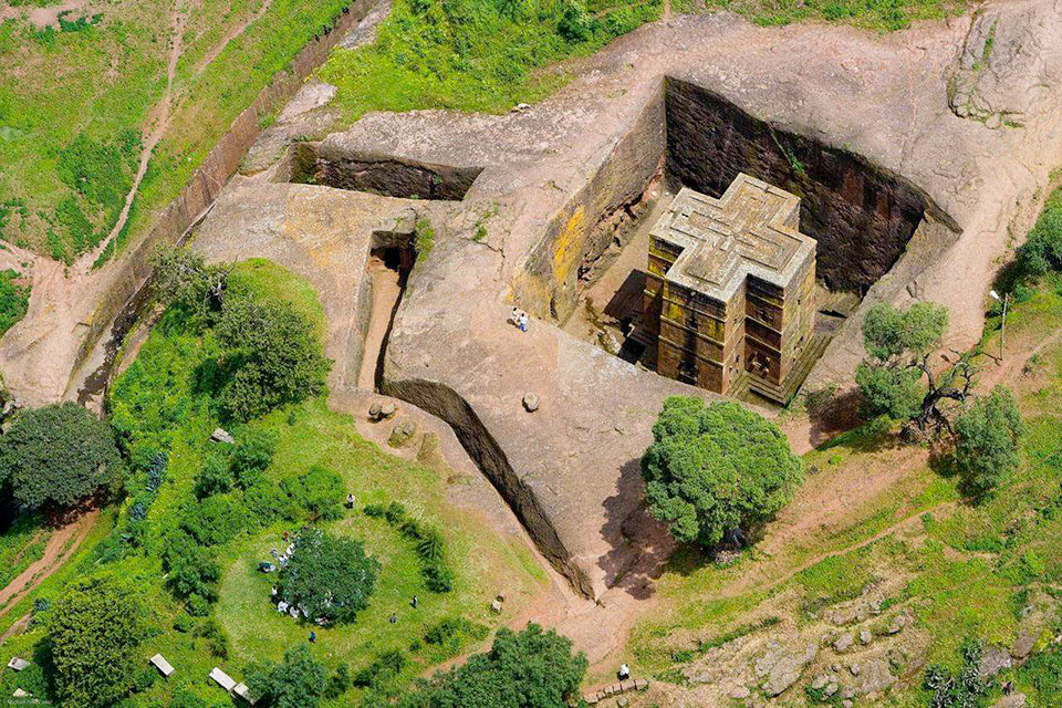 The St. Georges Cathedral in Lalibela, Ethiopia
