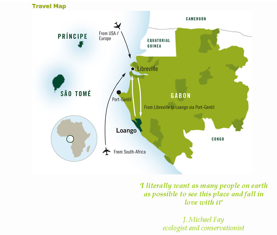 Travel Map to Gabon