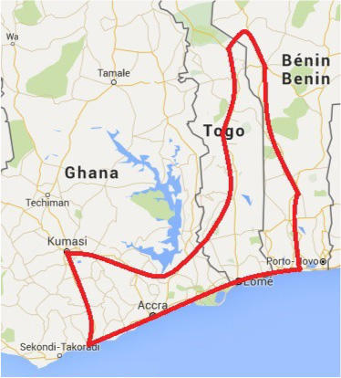 Tour To Ghana, Togo And Benin - Map