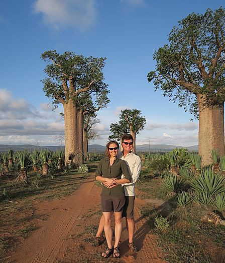 Johann Van Zyl and Brooke Berlin - sundowners among the baobabs