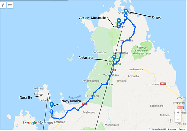 North Madagascar Safari, 10 Days - Map