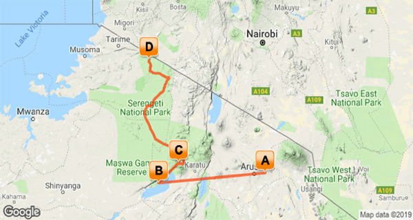 10 Days / 9 Nights Lake Eyasi with Ziwani Lodge including Ngorongoro & Serengeti - Map