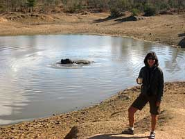 Cindi next to the hippo pool
