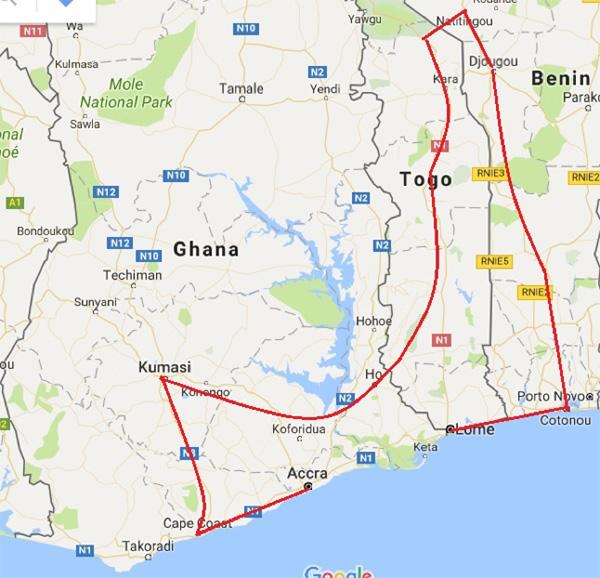 Ghana, Togo and Benin: Millet Festival 2019, 13 Days / 12 Nights - Map