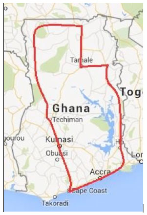Map - Tour to Ghana