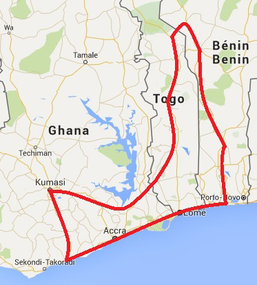 Map - 12 Days / 11 Nights Ghana – Togo – Benin, Festivals and Traditions (Discovery)