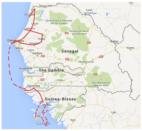 Senegal – Guinea Bissau Tour - Map